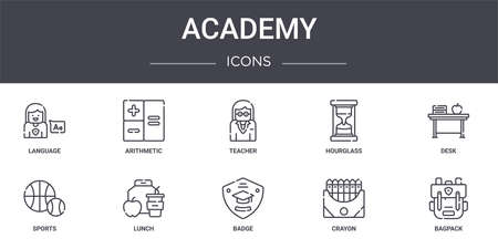 set of 10 academy concept line icons Illustration
