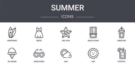 set of 10 summer concept line icons