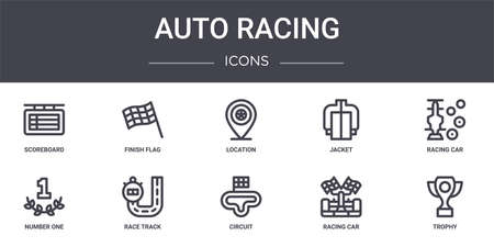 set of 10 auto racing concept line icons