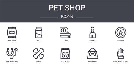 set of 10 pet shop concept line icons