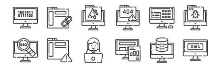 set of 12 linear web development icons. thin outline