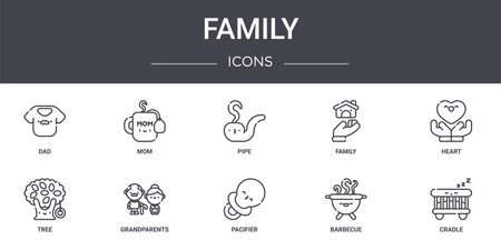 set of 10 family concept line icons Illustration