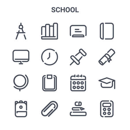 set of 16 school concept vector line icons. Illustration