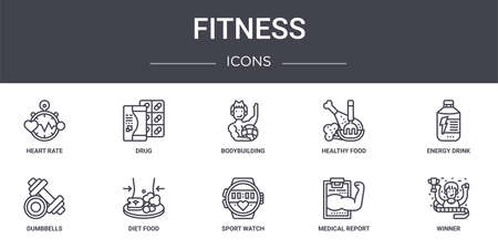 set of 10 fitness concept line icons