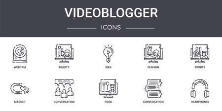 set of 10 videoblogger concept line icons Illustration