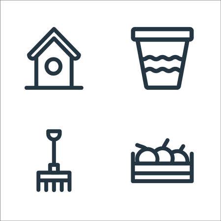 landscaping equipment line icons. linear set. quality vector line set. Illustration