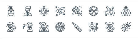 coronavirus line icons. linear set. quality vector line set. Stock Illustratie
