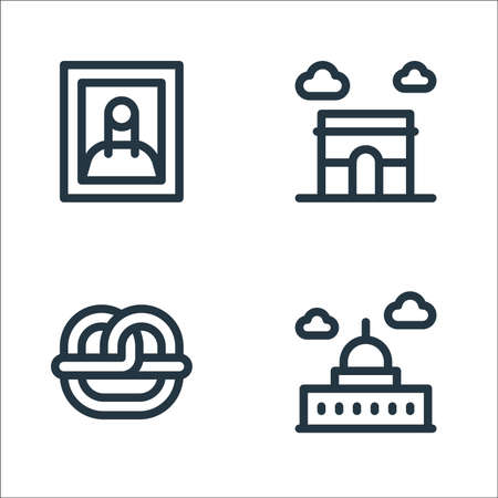 europe line icons. linear set. quality vector line set.