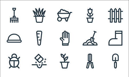 landscaping equipment line icons. linear set. quality vector line set. Stock Illustratie