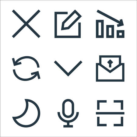 user interface line icons. linear set. quality vector line set. 일러스트