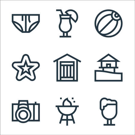 summer line icons. linear set. quality vector line set.