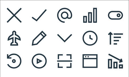 user interface line icons. linear set. quality vector line set. Ilustrace