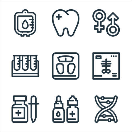 medical tools line icons. linear set. quality vector line set such as dna, eye drops, drop medicine, x ray, weight scale, test tube, gender, dentist