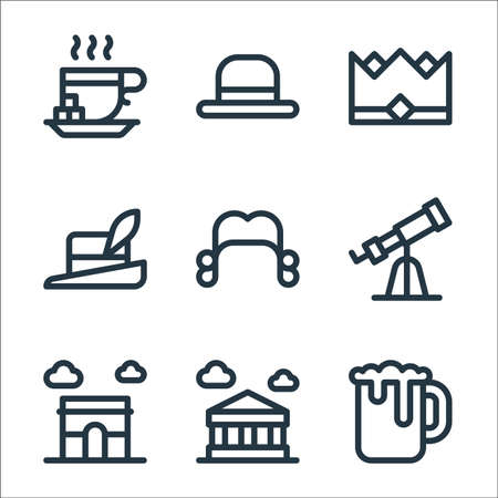 europe line icons. linear set. quality vector line set such as beer mug, parthenon, arc de triomphe, telescope, wig, hat, crown, bowler hat Ilustracja