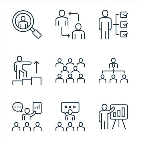 leadership line icons. linear set. quality vector line set.