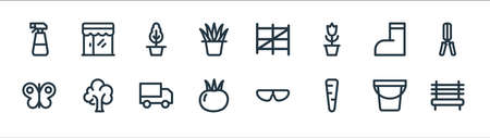 landscaping equipment line icons. linear set. quality vector line set. 向量圖像