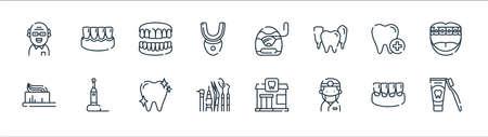 dental care line icons. linear set. quality vector line set.