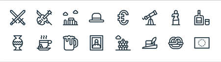 europe line icons. linear set. quality vector line set. Vector Illustration