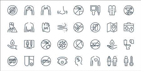 stop virus line icons. linear set. quality vector line set.