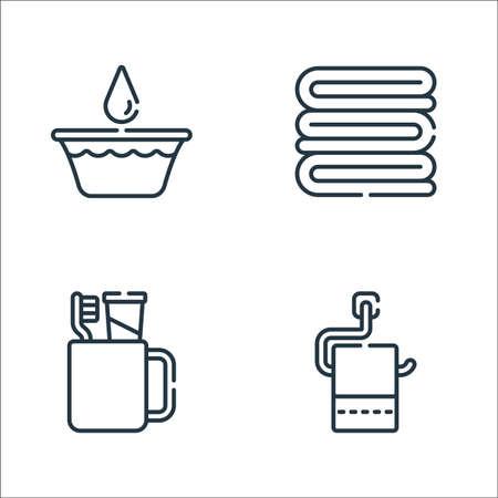 bathroom line icons. linear set. quality vector line set.
