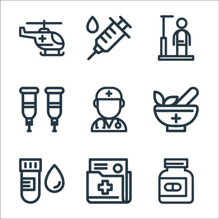 medical tools line icons. linear set. quality vector line set.