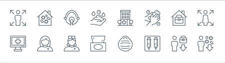virus line icons. linear set. quality vector line set.