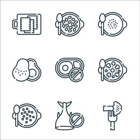 vegan food line icons. linear set. quality vector line set.