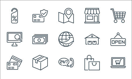 e-commerce line icons. linear set. quality vector line set.