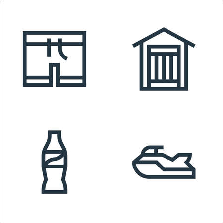 summer line icons. linear set. quality vector line set such as , coke, dressing room