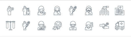 virus transmission line icons. linear set. quality vector line set such as ambulance, temperature, earth, test tube, test tube, immune, injection, soap