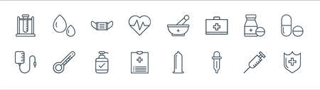 medical tools line icons. linear set. quality vector line set such as medical shield, pipette, medical report, blood transfusion, medicine, mask, mortar, blood drop