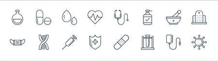 medical tools line icons. linear set. quality vector line set such as virus, test tube, medical shield, mask, mortar, blood drop, stethoscope, pills