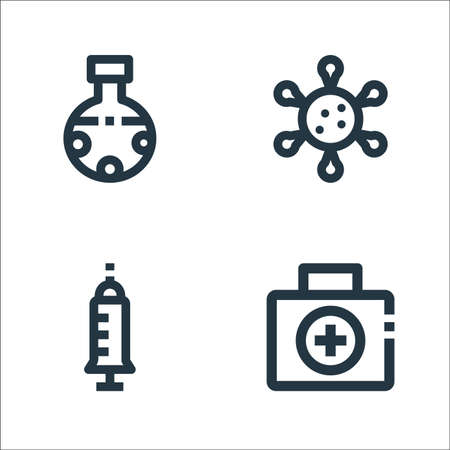 medical line icons. linear set. quality vector line set such as first aid kit, injection, virus