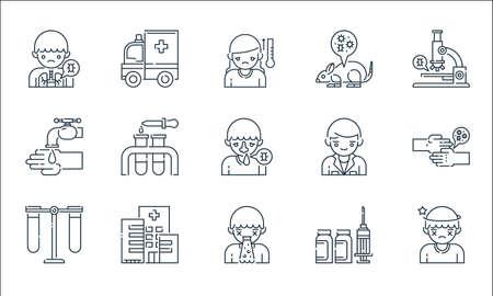 virus transmission line icons. linear set. quality vector line set such as dizzy, puke, test tube, medicine, hospital, wash, doctor, mouse, ambulance Ilustração
