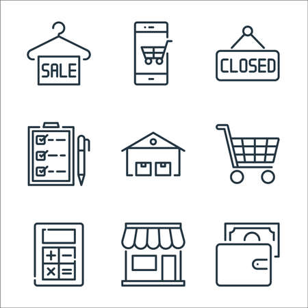 ecommerce line icons. linear set. quality vector line set such as wallet, shopping store, mathematics tool, shopping cart, warehouses, checklist, label, mobile shopping