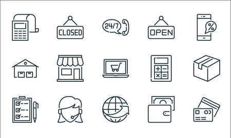 ecommerce line icons. linear set. quality vector line set such as cit cards, global network, checklist, wallet, client support, warehouses, mathematics tool, label, label