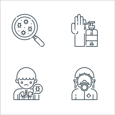 virus transmission line icons. linear set. quality vector line set such as hazmat, lung, soap