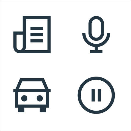 user interface line icons. linear set. quality vector line set such as pause, car, microphone