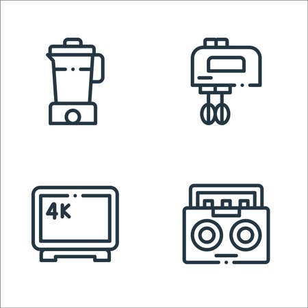 electronic devices line icons. linear set. quality vector line set such as radio, tv k, mixer