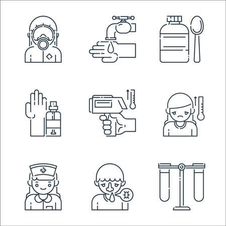 virus transmission line icons. linear set. quality vector line set such as test tube, runny nose, nurse, temperature, thermometer, hand sanitizer, medicine, wash Ilustração