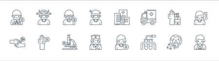 virus transmission line icons. linear set. quality vector line set such as doctor, test tube, nurse, virus transmission, soap, runny nose, hospital, headache