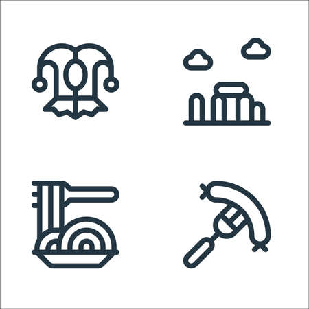 europe line icons. linear set. quality vector line set such as sausage, spaghetti, stonehenge