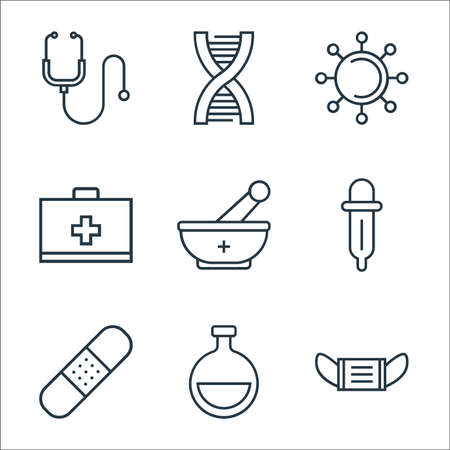 medical tools line icons. linear set. quality vector line set such as mask, flask, band aid, pipette, mortar, first aid kit, virus, dna