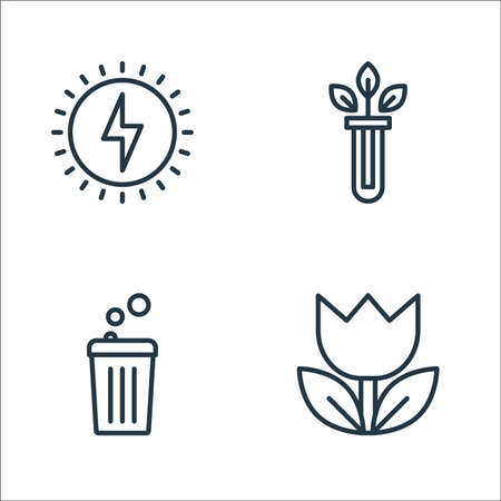 ecology line icons. linear set. quality vector line set such as flower, bin, test tube