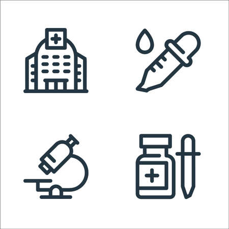 medical tools line icons. linear set. quality vector line set such as drop medicine, microscope, dropper Ilustrace