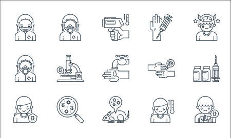 virus transmission line icons. linear set. quality vector line set such as lung, mouse, immune, temperature, search, hazmat, virus transmission, injection, hazmat