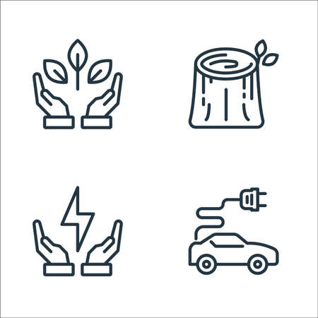 ecology line icons. linear set. quality vector line set such as electric car, ecology, stump