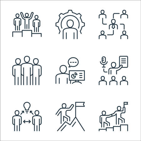 leadership line icons. linear set. quality vector line set such as leadership, climbing, brainstorming, coaching, presentation, leadership, organization, support