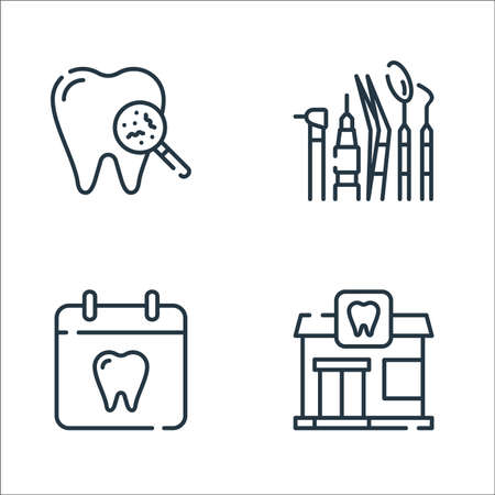 dental care line icons. linear set. quality vector line set such as dental, dentist, dentist