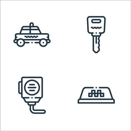 taxi service line icons. linear set. quality vector line set such as taxi, radio, car key Stock Illustratie